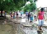 Calles de Sabana Yegua después del ciclón Sandy.